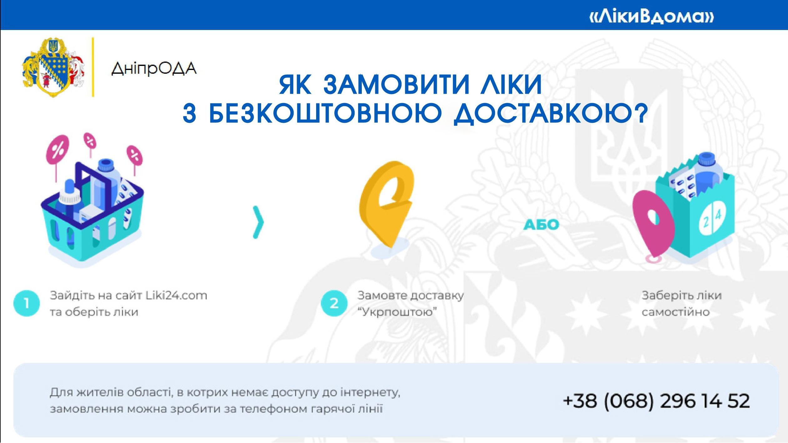 Мешканці Дніпропетровщини можуть замовити безкоштовну доставку ліків (КОРИСНО)