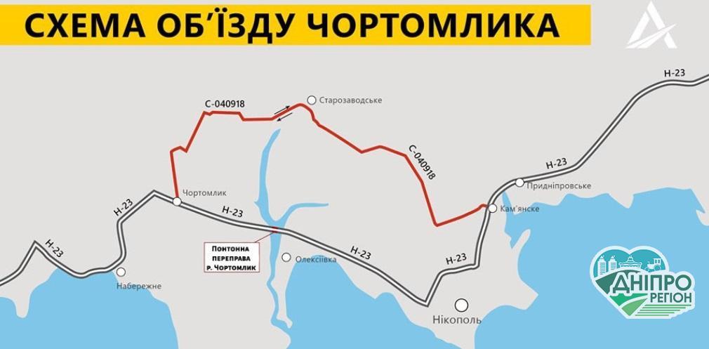 На Дніпропетровщині припиняють рух понтонним мостом: місяць в об'їзд